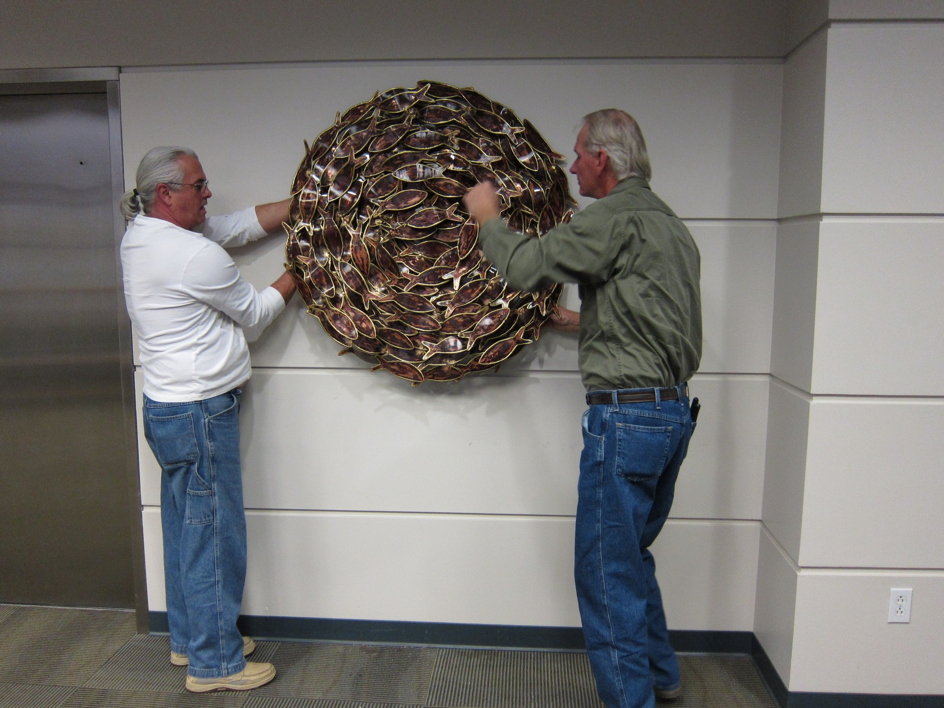 Photo: Bait Ball by Larry Schwartz being installed at the 'NOAA South East Regional Offices, St. Petersburg, FL